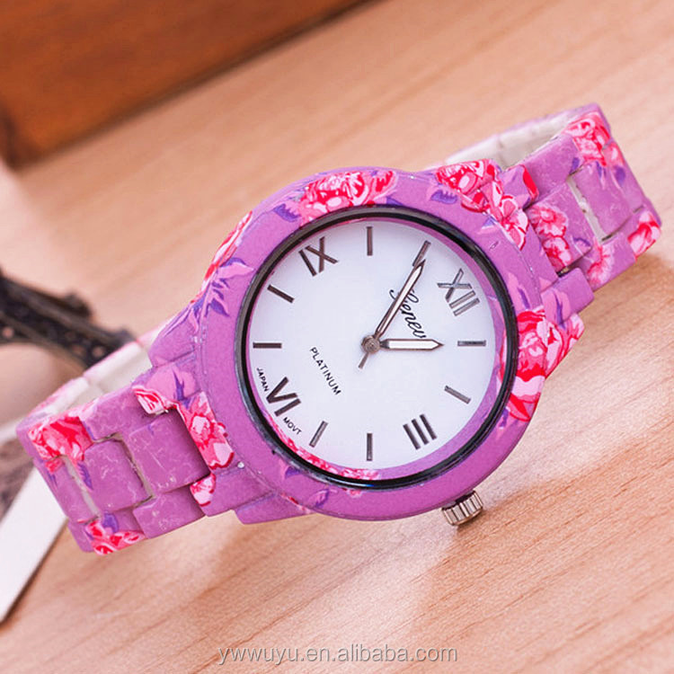 Pink Plastic Band Fashion Geneva Quartz Ladies Fancy Hand Watches