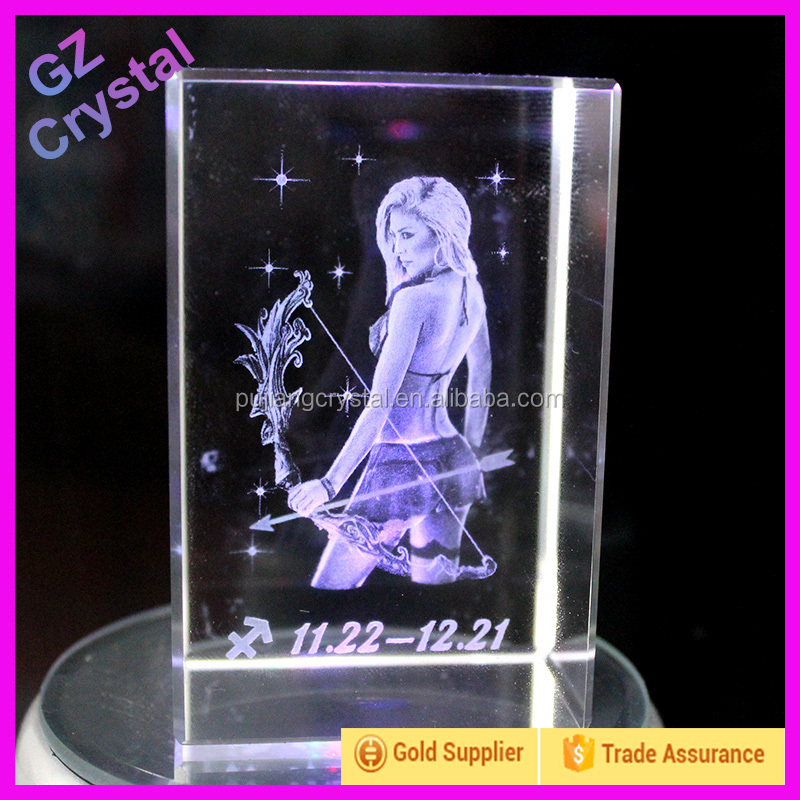 Birthday Present 3D Laser Engraving Crystal Glass Block