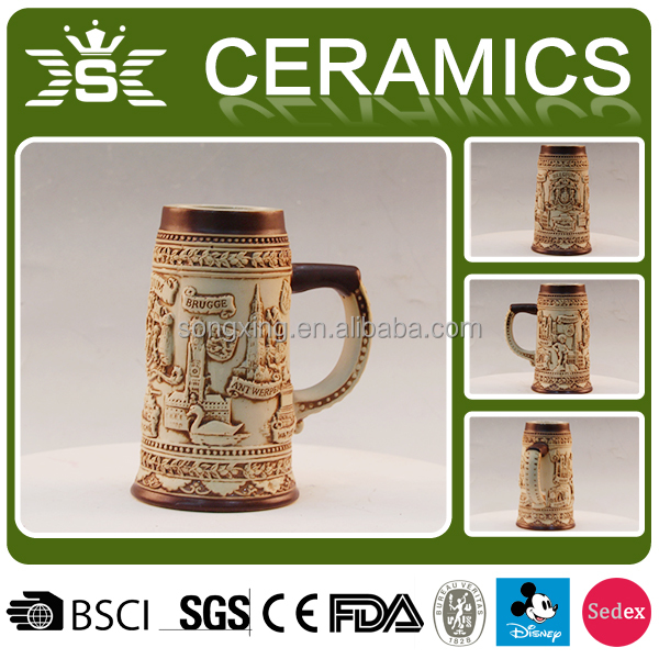 Belgium creative 3D ceramic engraved beer mugs