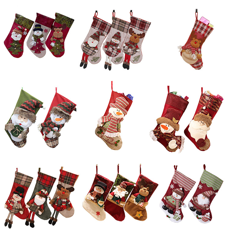 Embroidered christmas sock for candy gift bag