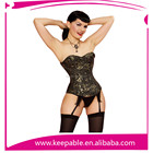 Playgirl Brocade Full Steel Boned Overbust Shaper Cinching Corset Black