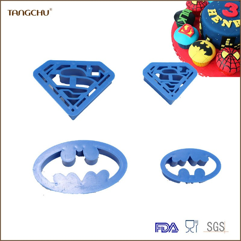 Superman,batman shape plastic cookie cutter/cookie cutter set/embossed mold