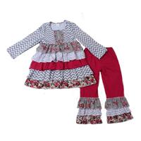 2016 kids wholesale clothing chevron print unique juniors ruffle outfits kids trendy clothing