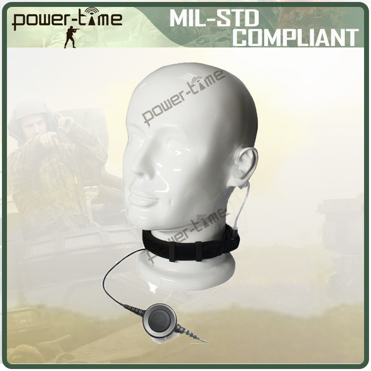 Neckband throat mic headphone with airtube for defense and security PTE-796
