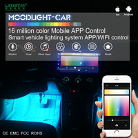 Smart mobile APP control car decoration accessories, car interior atmosphere LED light bar IP68 waterproof