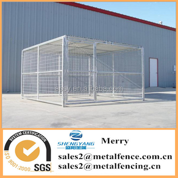 10'X10' heavy duty one-run welded steel tubing dog kennel fence with roof shelter and large run