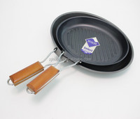 carbon steel oval shape non-stick non stick grill pan with foldable wooden handle