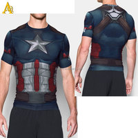 superhero 3d men' t shirt Tights bodybuilding gym fitness dri fit t shirt wholesale