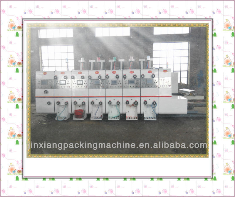 six color automatic slotting die cutting device corrugated carton flexo printer