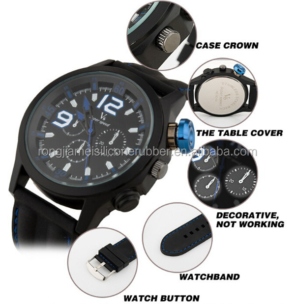 New arrival cool 3 motor V6 super speed elegant silicone sport watch