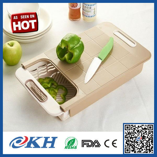 KH Amazon Hot Seller plastic cutting board with drawer,kitchen scale silicone cutting board with knife for better life