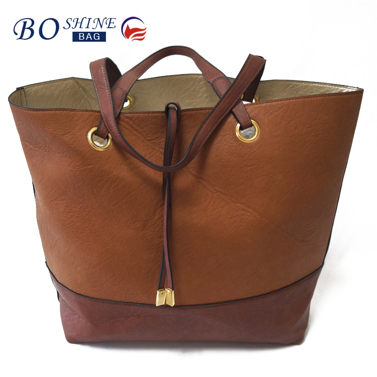 OEM fashion double PU leather woman handbag manufacturer china for office lady
