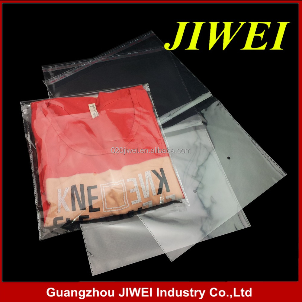 Guangzhou JIWEI self-adhesive custom clear plastic opp garment bag