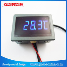 "Geree 0.56"" F/C 12V 24V DC Blue LED Digital Car Meter Thermometer -55-125 degree DS18B20 waterproof Sensor"