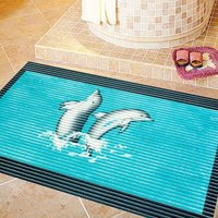 anti slip printed soft pvc shower room mat,non skid bath mat