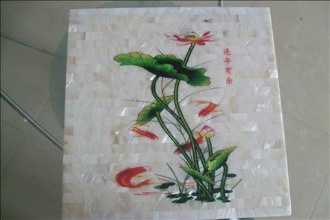 Freshwater shell painting mosaic tiles