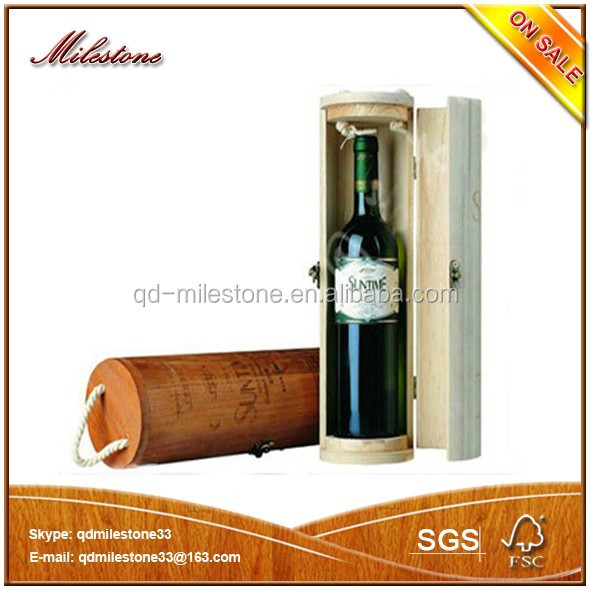 New Design Unfinished Single Bottle Round Wooden Wine Box for Promotion, Christmas Gifts, Packaging