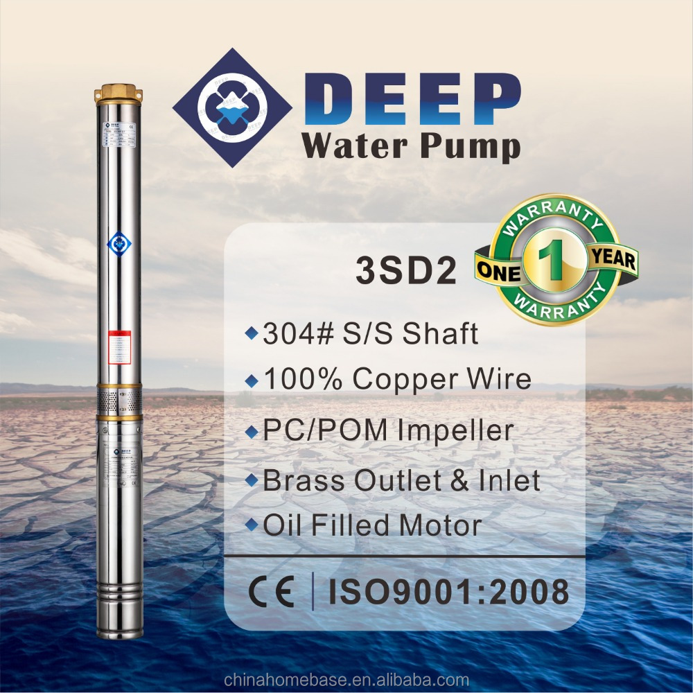 3SD2 series hot selling 2 inch 3 inch diameter water submersible deep well pumps