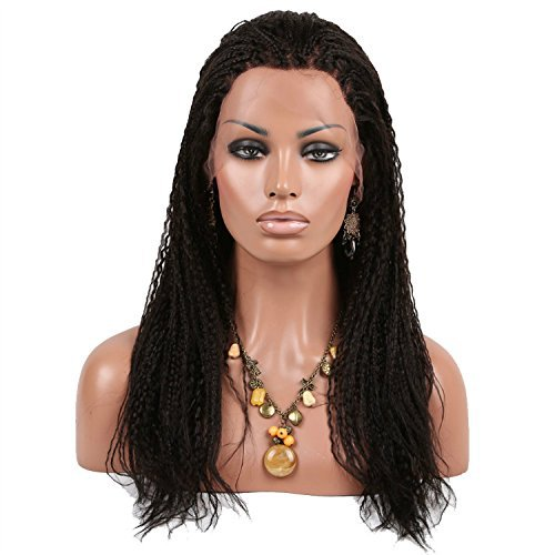 "High Quality Hand Tied Braids Wigs Brazilian 100% Remy Full Lace Human Hair Micro Braided Wigs for Black Women 20"" Black #1B"