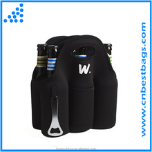 Insulated 6 Pack Beer Bottle Carrier with Opener, Thick Neoprene Bag. Keeps Cold and Protected, Can cooler bag