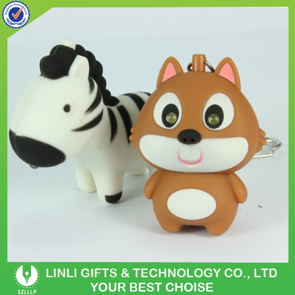 Cheap Plastic Mini Animal Shape Led Sound Keychain With Flashlight