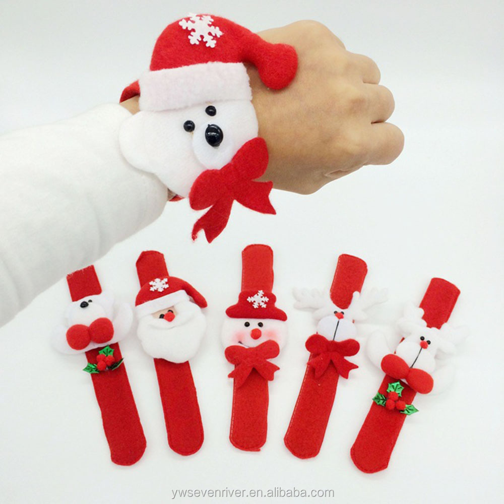 Christmas Decorations Slap Bracelet Bangle Patting Circle Xmax Children Gift Santa Claus Snowman Deer