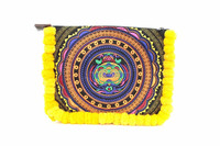 Embroidered Clutch With Yellow Pom Poms Hill Tribe Fabric Fashionable Thailand Handbags