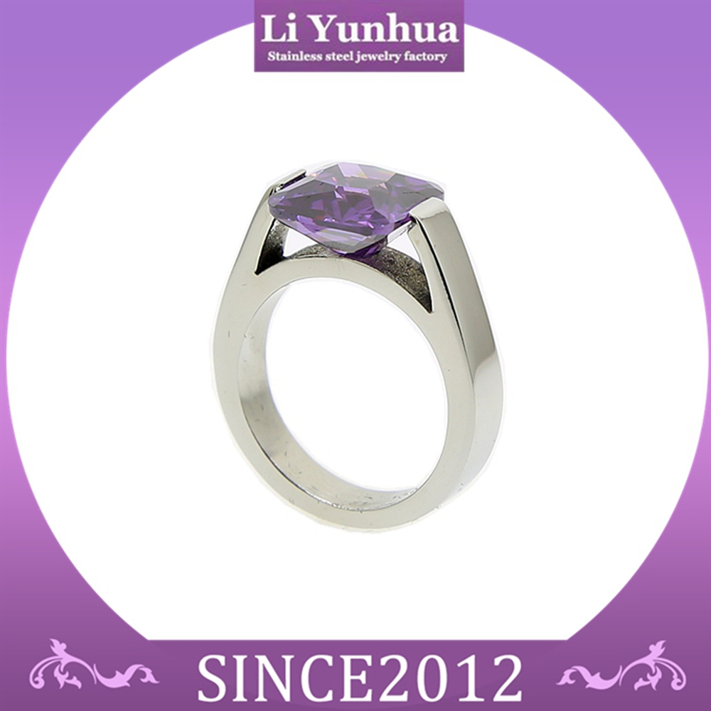 Shiny Blank Own Engraved Tension Setting Stainless Steel Rings With Purple Zircon