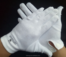 black color screen printing white parade cotton gloves