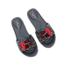 Red lips crystals lady <strong>flat</strong> sandal slipper woman shoe low price slipper sandale femme