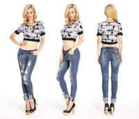 Street Style Holes Design Bleach Wash Worn-Out Effect Fashion Women's Jeans