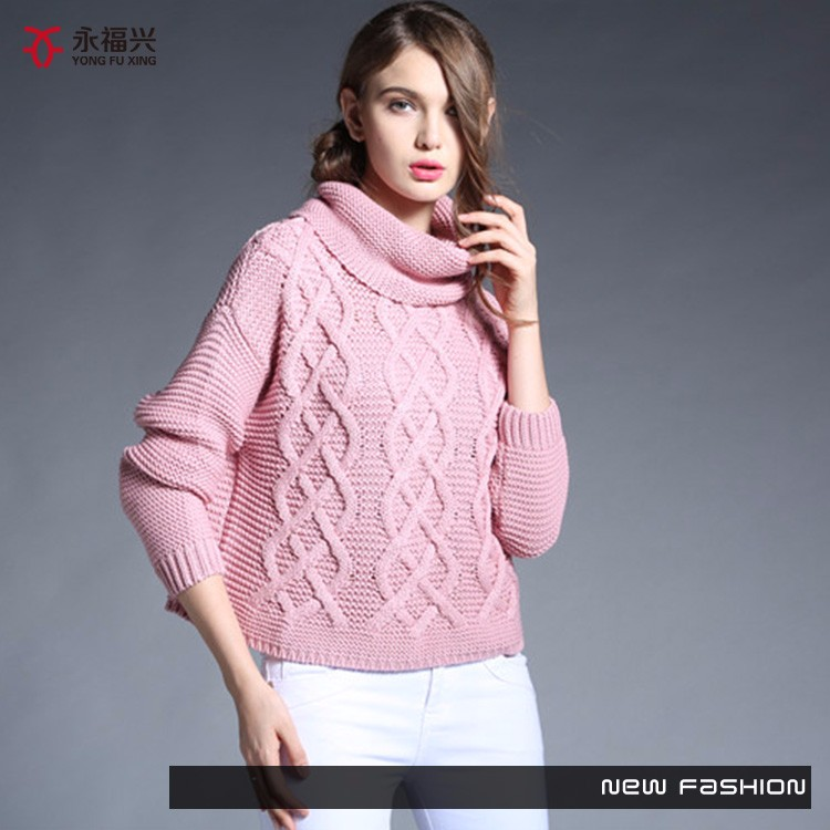 New fashion fancy color high neck knitting sweater patterns
