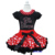 Red Polka Dots Pettiskirt with Red Polka Dots Collar Bling Rhinestone Red Big Sister Black Short Sleeves Top 1-7Y