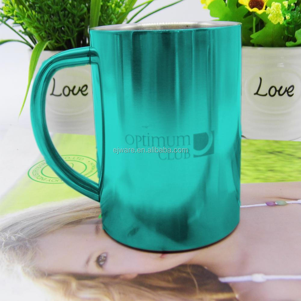 450ml big travel cup with PP handle and lid camping mugs
