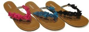 Women's Thong Sandals w/ Solid Floral Adornment Pack of 36