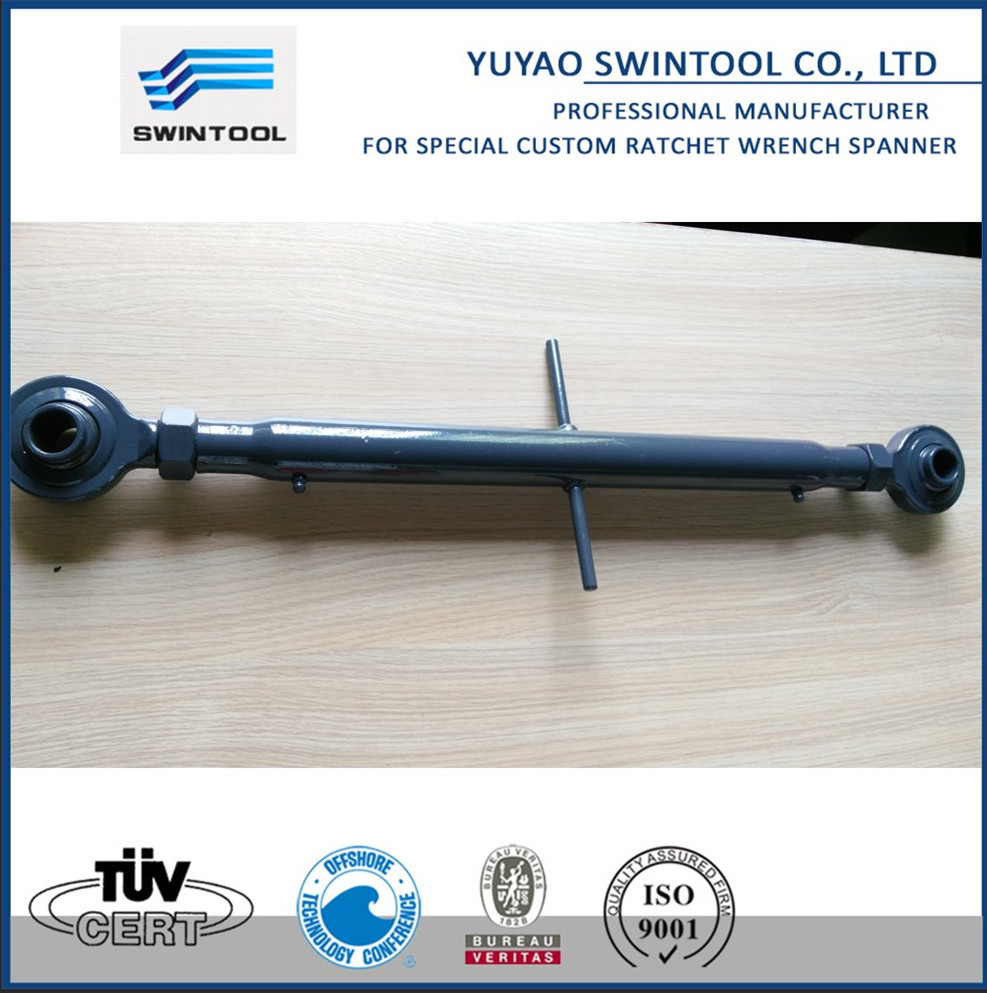 Adjustable top linkage with rod end assembly with Din1478