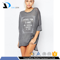 Daijun deep round sexy lady gray overlong cheap t shirt cutting patterns