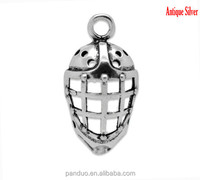Antique Silver Hockey Helmets Charms Pendants