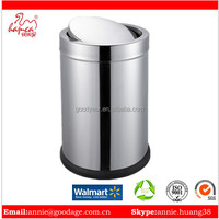 Stainless steel Cheap price Indoor round Swing top waste metal bins