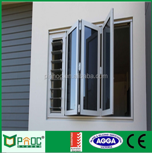 Aluminium Double Glazed Windows Folding Glass Window Ventilation Bifold Window
