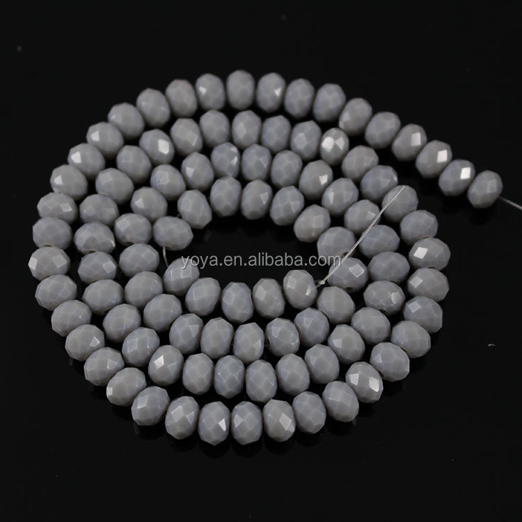 CR5049 Wholesale grey gray solid colour crystal glass faceted abacus rondelle beads
