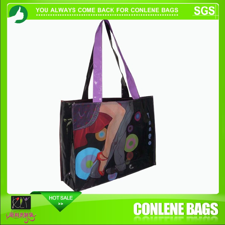 printed woven pvc shopping bag