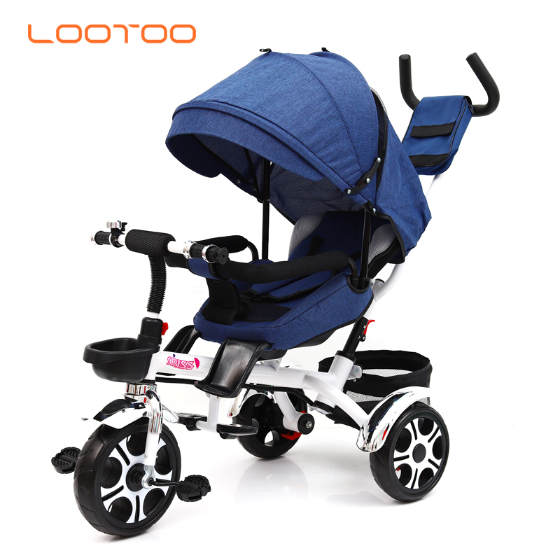 China factory new model LED light 360 degree 3 in 1 3 wheels baby stroller tricycle triciclo paseador para bebe with pusher