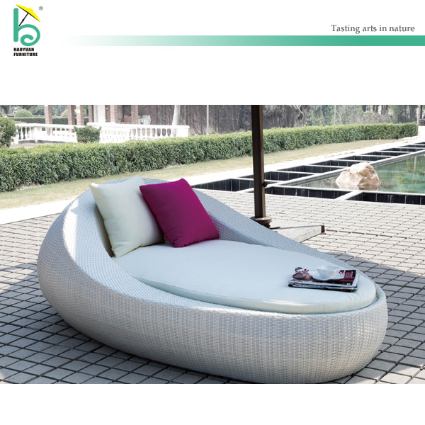 white rattan aluminum frame outdoor daybed wicker lounge bed