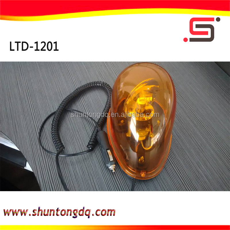 LTE-1201 12v yellow rotary rotating roof top snail warning beacon light for car