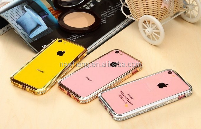 Wholesale Aluminum Frame Bumper For iPhone 5s iPhone5c iphone5 with Rhinestone Bling Diamond case 5c Colorful Metal Frame case