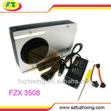 USB 2.0 3.5 inch SATA hard drive disk Enclosure lan sata hdd enclosure with FAN