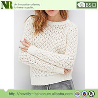 Pure white ladies hollow out long-sleeve knitted pullover warm soft sweater