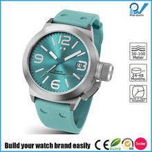 Stainless steel back water resistant silicon watch sport style Eco-friendly rubber strap silicone wrist watch for men