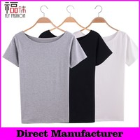 YBT6039# 2015 summer vintage plain white women t-shirt manufacturers in china